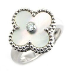 Auth And Ring Vintage Diamond Shell 750wg 49 Us4.75