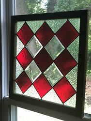 Antique Wood Framed Leaded Stain Glass Farm/americana/primitive Red