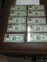 10-1976 Two Dollar Bills W/andnbsp Postal Stamp Post Marked 7/7/77 Uncirculated