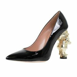 Nib Red Valentino Black Snow White Doc Patent Leather Heels Shoes Size 6/36
