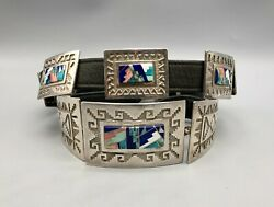 Fancy And Unique Inlay And Overlay Concho Belt By Tommy Jackson