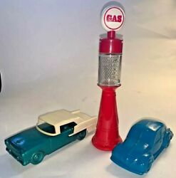 Lot 3 Vintage Avon Auto Related Bottles - Vw Beetle, 1955 Chevy, Visible Pump
