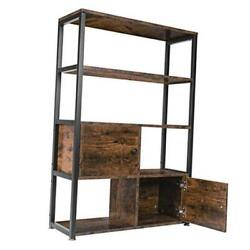 Bookshelf With 2 Cabinets Vintage Industrial Book Shelf Bookcase With Doors