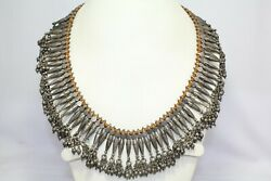 Old Silver Solid Necklace Vintage Jewelry India Tribal Rattle Orange Thread A414