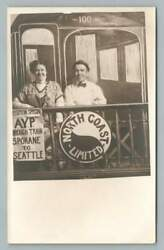 Happy Couple On Ayp Train Caboose Rppc North Coast Limited Seattle Expo 1909