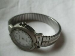 Carriage By Timex Wristwatch Silver Tone Expansion Band Round White Face