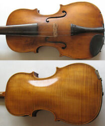 Antique 4/4 Full Size German Violin W/ Bow And Fitted Coffin Case