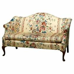 Antique Queen Anne Style Upholstered Settee 20th Century