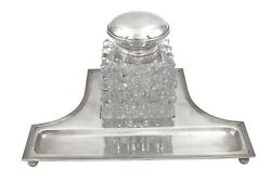 European Silver And Crystal Glass Inkwell On Stand In Art Deco Style