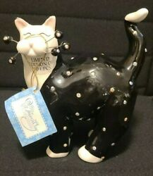 New With Tag Whimsiclay Cat Figurine Limited Edition