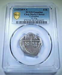 Pcgs 1622 Cartagena Colombia 4 Reales 1600and039s Spanish Colonial Silver Cob Coin