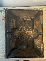 1800's Antique Holy Bible Christian Closing Clasps Leather Bound
