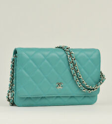 Classic Wallet On Chain. Light Blue Lambskin And Silver Hardware