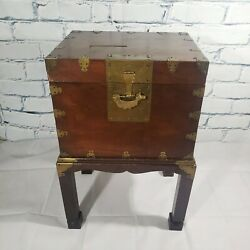 Vtg 1960s Mahogany Wood Square Cube Trunk Chest W/stand Brass Hardware Lock