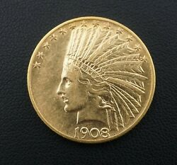 1908 10 Dollar Indian Head Gold Eagle Gold Coin Motto Xf-au M1439