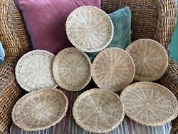 Lot Of 8 Vintage Wicker Rattan Paper Plate Holders 10 Picnic Bbq