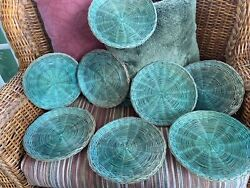 Lot Of 8 Vintage Wicker Rattan Paper Plate Holders 10 Picnic Bbq Green