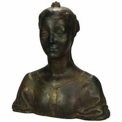 Antique Oversized Classical Plaster Sculptural Bust Of Woman Circa 1890