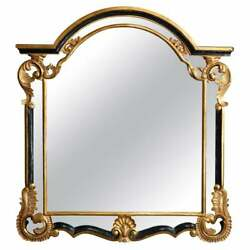 Antique French Louis Xiv Giltwood And Ebonized Over Mantel Mirror By Daupine 20thc