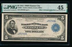 Ac Fr 801 1915 5 Frbn Kansas City Pmg 45 Rare Note Only 15 Known Pop 1/1