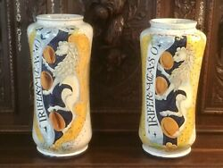Antique Pair Of Italian Albarello Apothecary Pharmacy Jars Hand Painted Signed