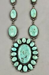 Statement Necklace With Large Water Webbed Turquoise Cabochons