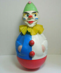 Vintage Rolly Toys Western Germany Wobble Clown With Ruffle And Bells