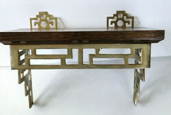 Vintage Asian Style Brass And Wood Wall Shelf Plate Small Wooden Curio Display