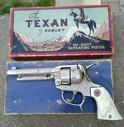 Vintage Hubley ..the Texan 50-shot Repeating Pistol Toy Cap Gun With Box
