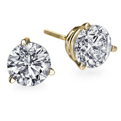 Andpound7850 2.07 Carat Diamond Stud Earrings For Women Yellow Gold 14k I2 20551241