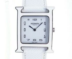 Hermes H Watch Hh1.520 White Ss Leather Ladies Quartz Collection Shippingfree