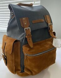 Brunello Cucinelli Backpack Tan Suede Leather Grey Wool/cotton Zip Italy 3795