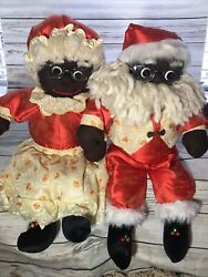 """Vintage African American Mr. And Mrs. Santa Claus Sitting Plush Christmas 27"""" Tall"""
