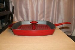 """Calphalon Square Grill Fry Pan Skillet Red Enameled Cast Iron W/ Press Lid 11"""""""