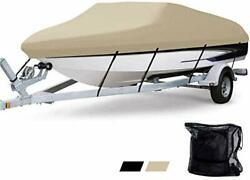 Waterproof Boat Cover Heavy Duty 600d Polyester Oxford Bass Runabout Boat Cov...