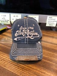 Rare 👀 True Religion Brand Jeans Distressed Hat Sz Xl 7 5/8 Or Larger