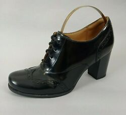 Clarks Artisan Ladies Black Leather Brogues Lace Up Shoes Uk 4d Heel Victorian
