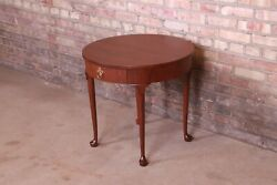 Baker Furniture Queen Anne Walnut Tea Table, Newly Refinished