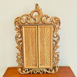 Sarah Coventry Gold Rococo Jewelry Wall Cabinet Hollywood Regency Vintage 1973