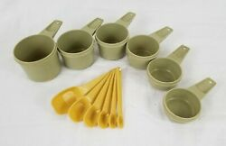 Vintage Green + Yellow Tupperware Nesting Measuring Cups And Spoons Set Retro