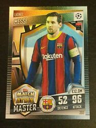 2020 2021 Topps Match Attax 101 Uefa Master Lionel Messi Fcb Foil Refractor