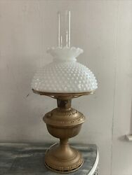 Vintage Aladdin 7 Electric Table Lamp With Milk Glass Shade And Chimney