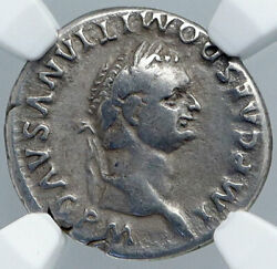 Domitian Authentic Ancient 81ad Rome Silver Roman Coin Dolphin Anchor Ngc I89120