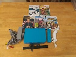 Nintendo Wii Blue Console Bundle Rvl-101 Tested 5 Games Free Shipping Kids Lot