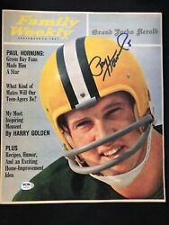 Paul Hornung Green Bay Packers Hof 1986 Signed Family Weekly Sept 1961 Psa/dna