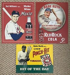 Babe Ruth Red Rock Cola And Pinch Hit Tobacco Signs - Plus Free Extra Sign