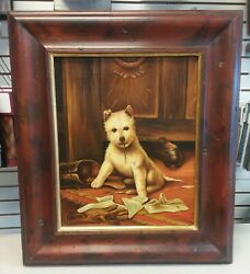 Vintage Original Oil Canvas Naughty Highland Terrier Dog Painting Signed Weston