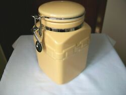 Longaberger Pottery Woven Traditions Coffee Canister W/ Latch Lid Butternut