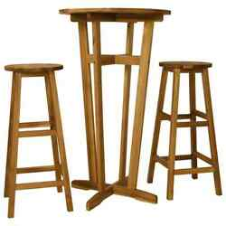 Solid Acacia Wood Bar Set 3 Piece Wooden Pub Bistro Table And Chairs Brown