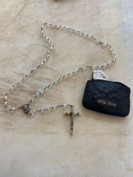 Vintage Rosary With Silver Metal Crucifix And Crystal Or Glass Beads Frand Italy
